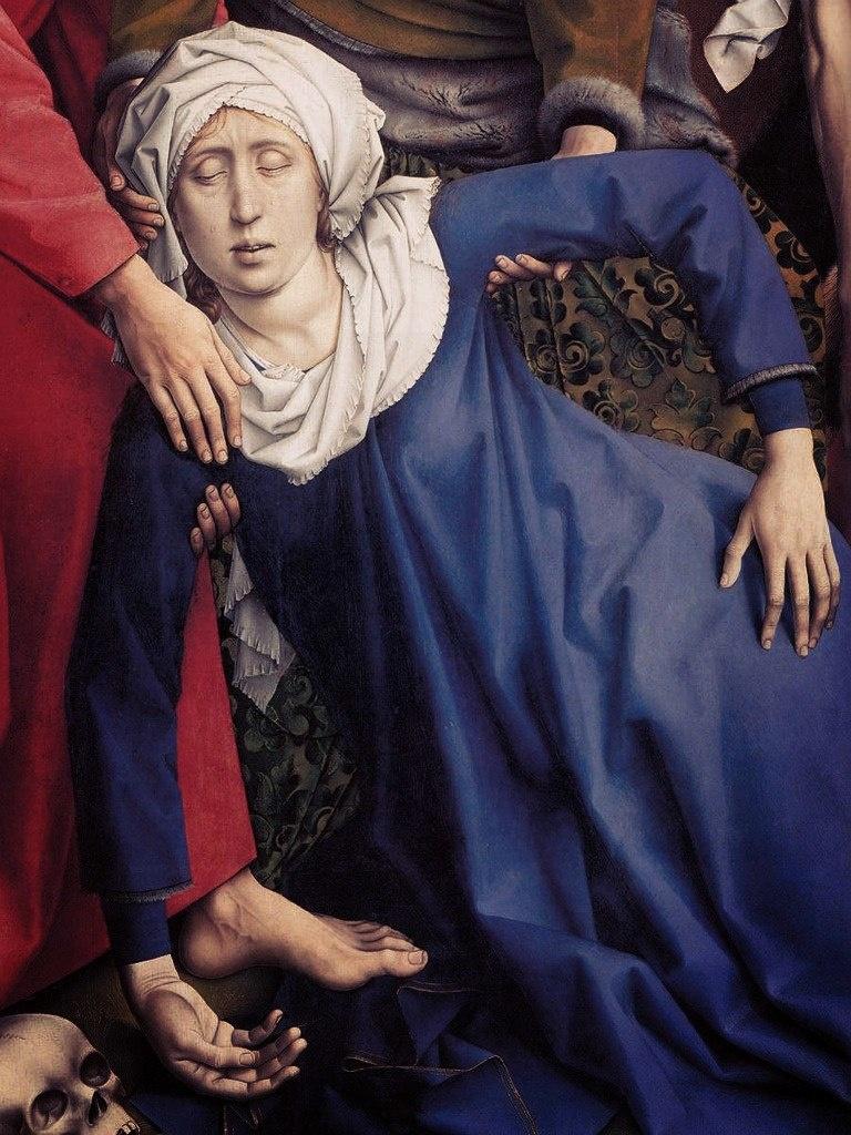"""Рогир ван дер Вейден. """"Снятие с креста""""Ранее 1443, Музей Прадо. Мария Богоматерь потеряла сознание под воздействием переживаний. Чаще, ссылаясь на положение фигуры, говорят иначе: она упала в обморок. """"Черный обморок"""" - уточняю я..."""