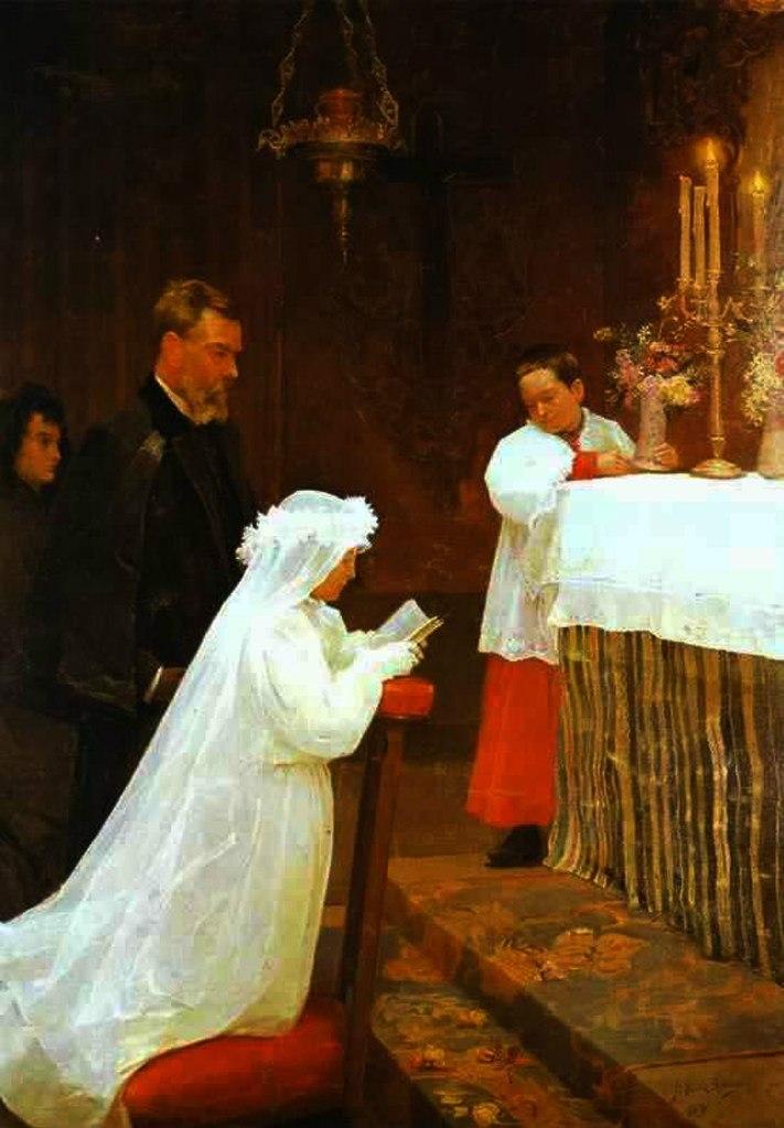 """Пабло Пикассо. """"Первое причастие"""". 1896. На картине изображены Лола - сестра художника - и его отец - дон Хосе Руис - во время совершаемого таинства."""