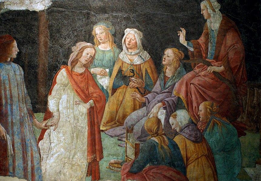 """АЛЕССАНДРО ФИЛИПЕПИ ДИ БОТИЧЕЛЛИ (1445-1510). """"Семь свободных искусств приветствуют юношу"""". Фреска из виллы Лемми, которая могла принадлежать семье Торнабуони. Приобретена Лувром в 1882 году."""
