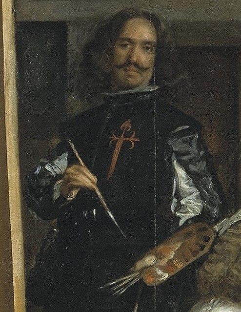 """Диего Веласкес. """"Менины"""" (Фрейлины), 1656 Автопортрет с крестом на камзоле, которым Веласкес был награждён в 1659 по завершении картины."""