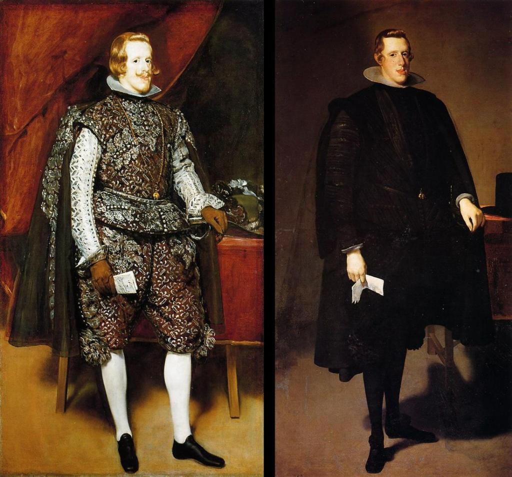 Диего Веласкес. Портрет короля Филиппа IV (ок. 1653 - 1657). На правом портрете видно, что молодой король стеснен рамками сурового испанского этикета и собственной нерешительностью.