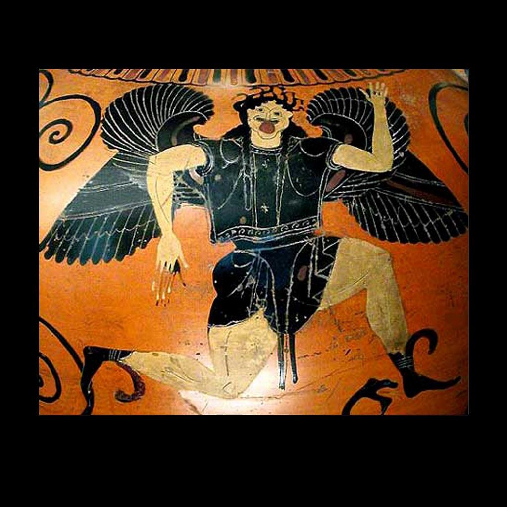 Античная чернофигурная ваза. Бег Медузы горгоны в форме свастики