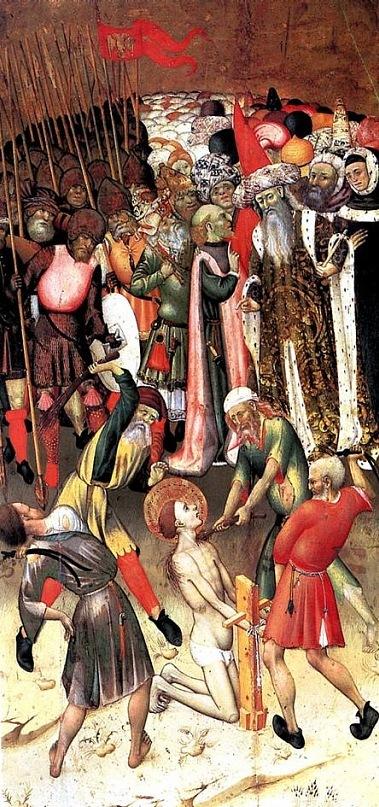 """XV ВЕК. Марторелл Бернардо. Сцены мученичества св. Георгия: """"Бичевание"""". Каталония, художник известен с 1427-1452"""