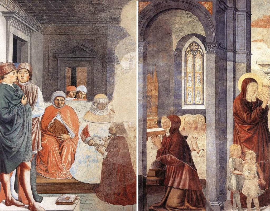 Сан-Джиминьяно, церковь Сант-Агостино. Гоццоли Беноццо. Цикл фресок «Жизнь святого Августина» (1464-1465). Святой Августин в Карфагенской школе (сцена 2, северная стена). Святой Августин прощается с матерью (сцена 3, восточная стена).