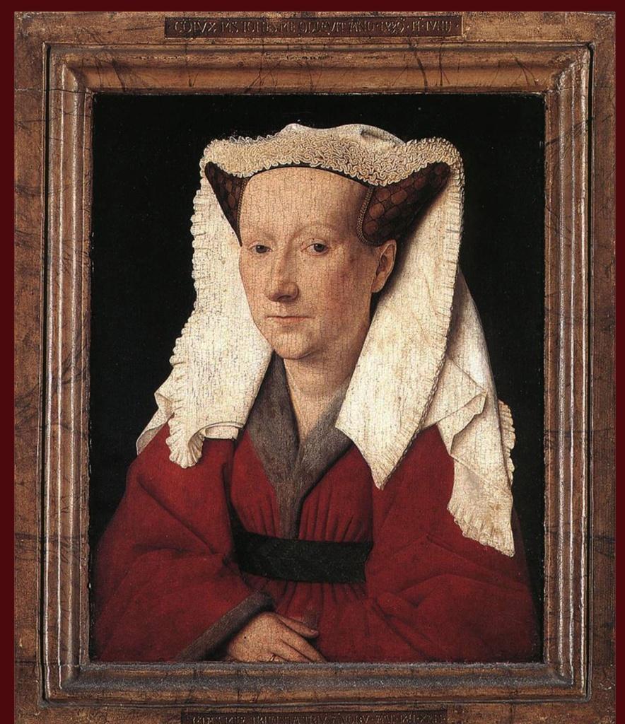 """Ян ван Эйк - """"Портрет Маргареты ван Эйк, жены художника"""", 1439. Лондонская национальная галерея. Латинская надпись на раме утверждает от имени портретируемой: «Супруг мой Ян закончил 17 июня 1439 г. Возраст мой 33 года. Как умею»."""