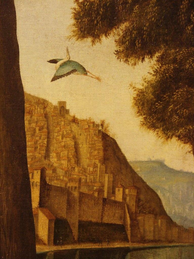 """Витторе Карпаччо. """"Портрет молодого рыцаря..."""" Фрагмент пейзажа третьего плана. Города поднимаются вверх по скалам. Птицы парят в Небе, что купаются в Море..."""