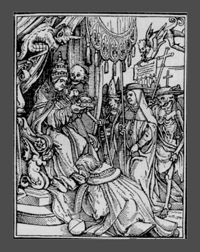 """Ганс Гольбейн Младший. """"Пляска Смерти"""". 1526 год - создание. 1538 - публикация. """"Папа Римский"""" - первая жертва Смерти,  ей подвластная как все простые смертные. И веселится нечисть..."""
