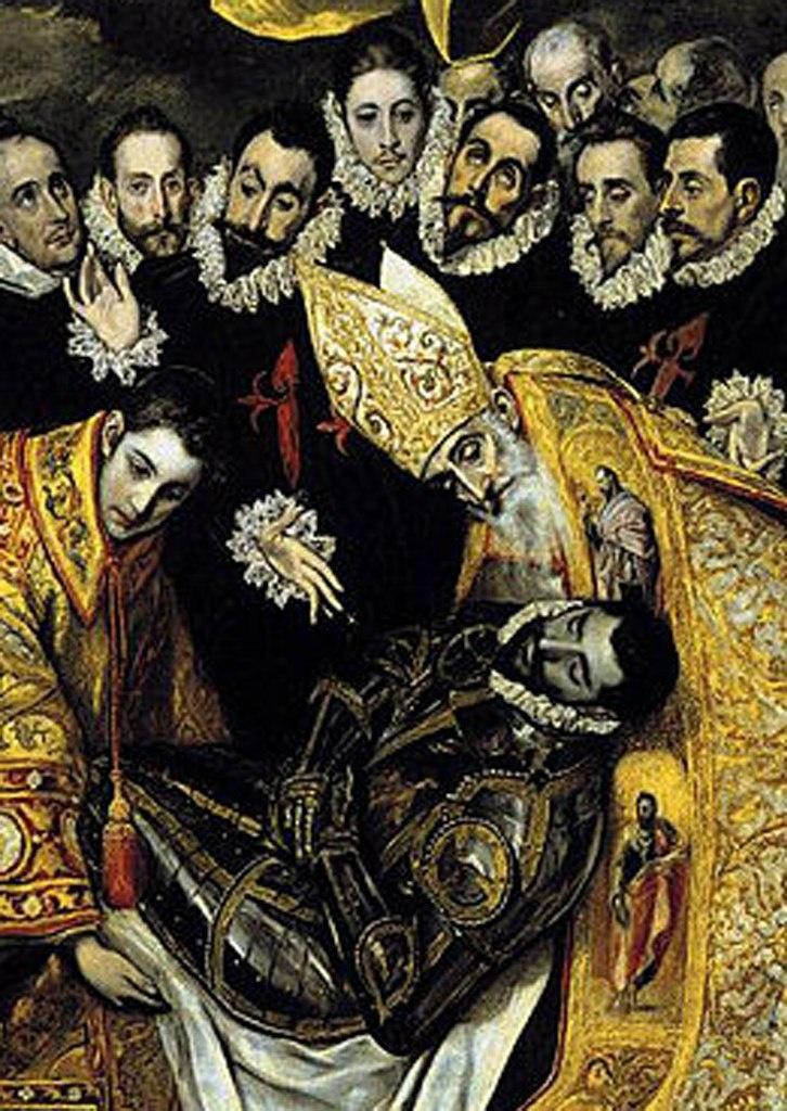 Эль Греко. «Погребение графа Оргаса». 1586 - 1588 годы. Центральный фрагмент: Св. Стефан, умерший граф Оргас, Блаженный Августин (354 - 430). Он — теолог и философ, влиятельнейший проповедник, один из Отцов христианской церкви..