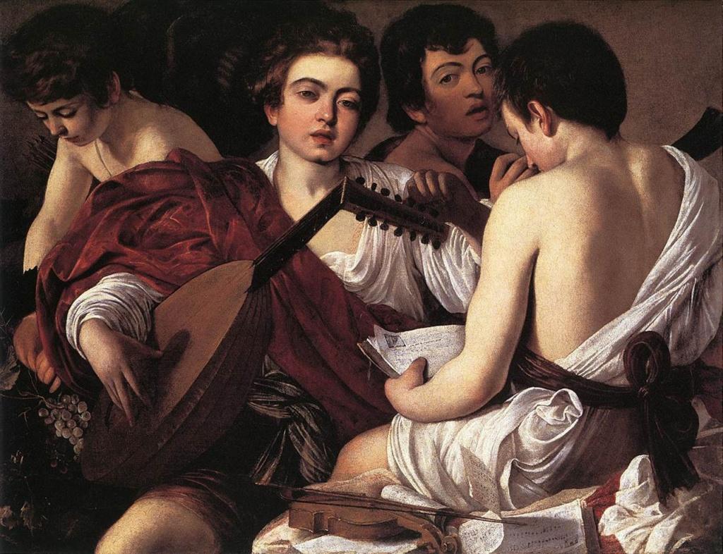 """Караваджо. """"Музыканты"""". 1595.. Метрополитен-музей, Нью-Йорк. Молодые люди пребывают в умиротворенном состоянии, гармонизированном звуками лютни. Это состояние столь очевидно, что, когда вглядываешься в картину, музыка начинает звучать."""
