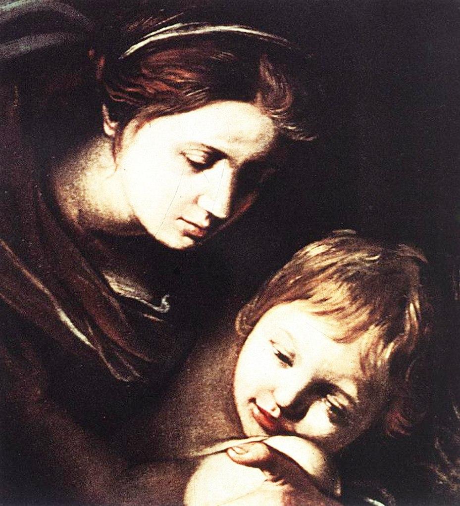 """Караваджо. """"Семь деяний милосердия"""". Фрагмент: Мадонна с Младенцем взирают с Неба на происходящее на земле."""