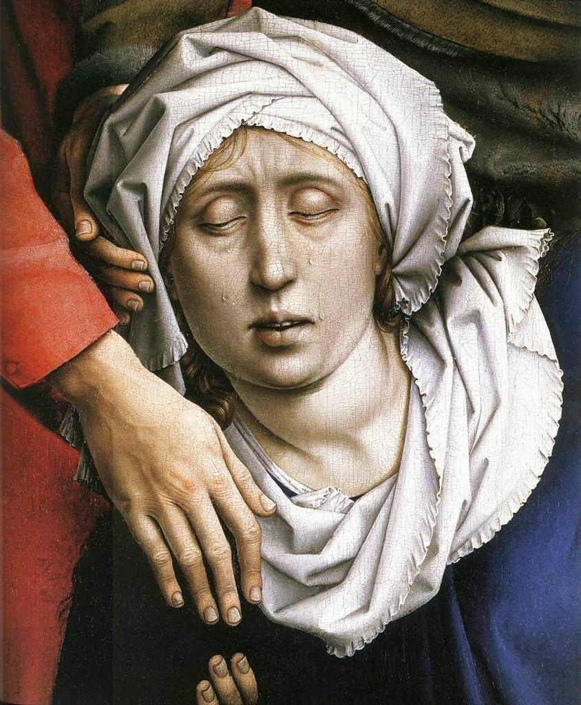 """Рогир ван дер Вейден. """"Снятие с креста""""Ранее 1443, Музей Прадо, Мадрид. """"Черный обморок"""" Богоматери Марии..."""