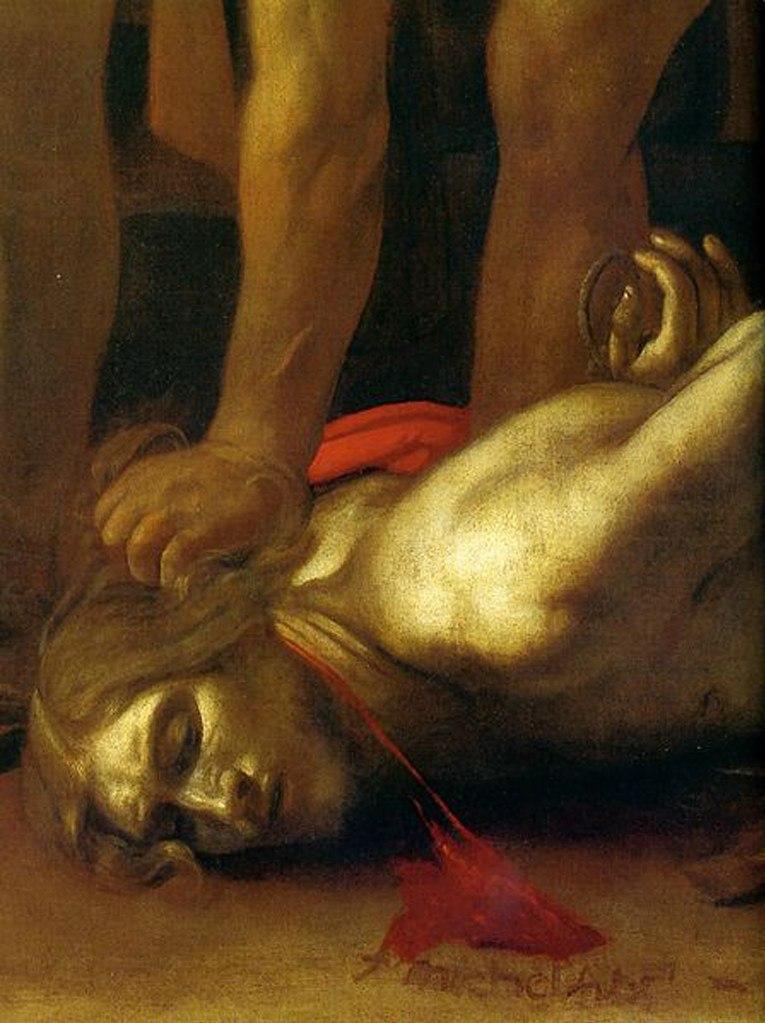 Караваджо «Усекновение главы Иоанна Крестителя». 1608. Фрагмент с автографом художника, написанным кровью, истекающей из тела Иоанна Крестителя:  «f [fecit - сделал, исполнил] michela...».