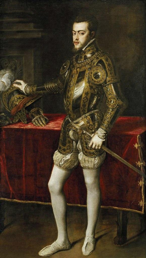 Филипп II (1527 — 1598) — король Испании, Португалии, Нидерландов и обладатель всех заморских владений Испании.
