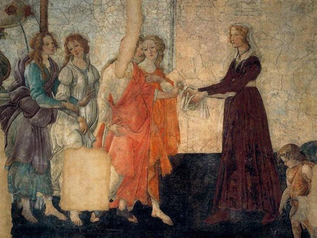 """АЛЕССАНДРО ФИЛИПЕПИ ДИ БОТИЧЕЛЛИ (1445-1510). """"Молодая женщина получает дары от Венеры и трех Граций"""". Фреска из виллы Лемми, которая могла принадлежать семье Торнабуони. Приобретена Лувром в 1882 году."""