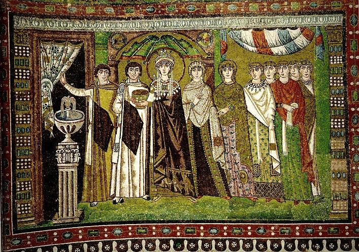 Базилика Сан Витале. Боковые стены апсиды. Императрица Феодора со свитой.