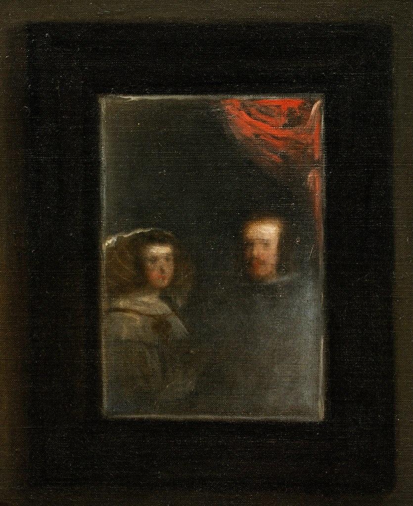 """Диего Веласкес. """"Менины"""" (Фрейлины), 1656. Портрет короля Испании Филиппа IV и его супруги Марианны — отражение в зеркале, висящем на дальней стене ателье"""
