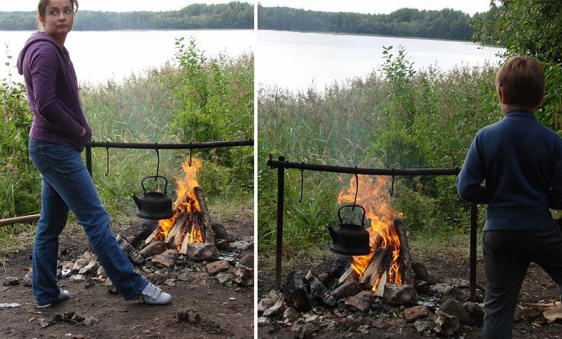 Можно теперь и насладиться: постоять у костра, наблюдая за колебаниями пламени огня, живого...