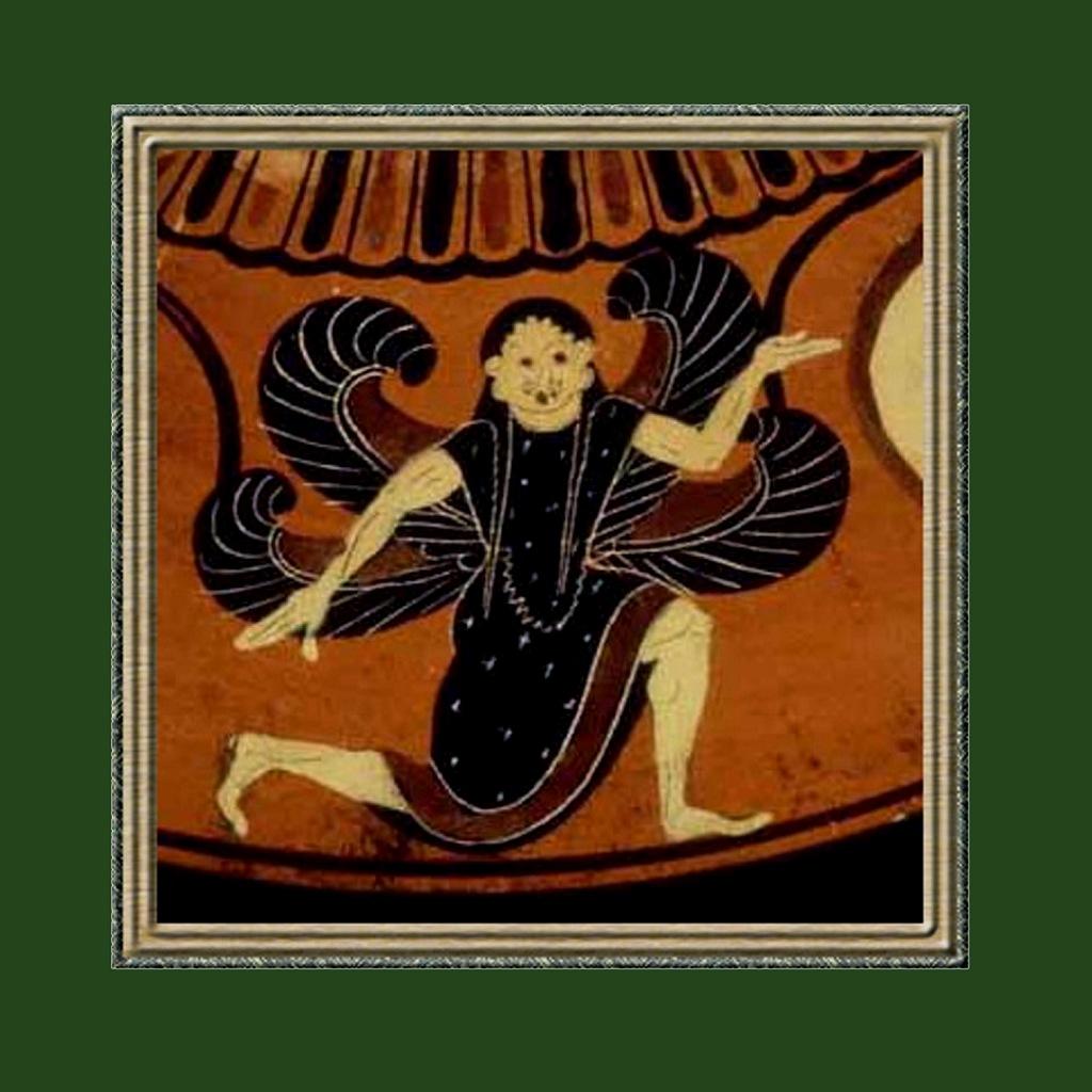 Античная ваза. Изображение свастичной Медузы горгоны