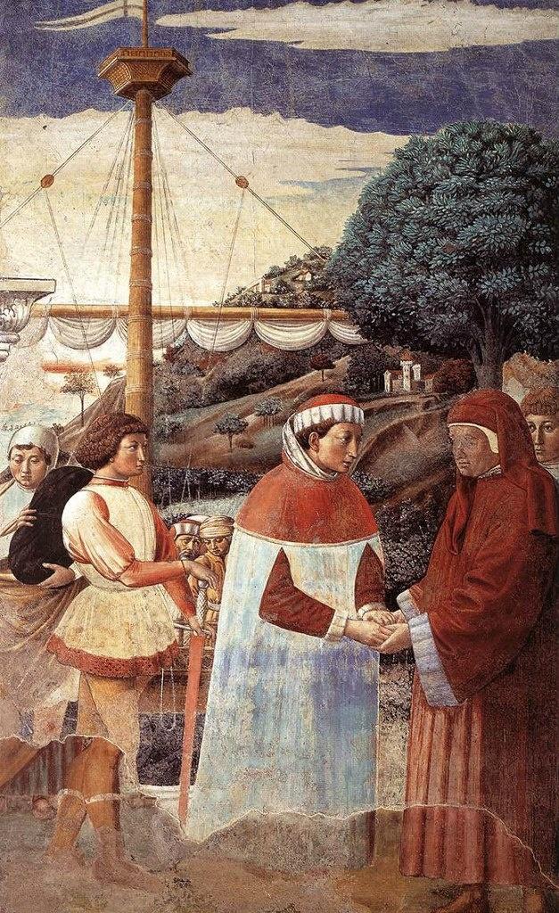 Сан-Джиминьяно, церковь Сант-Агостино. Гоццоли Беноццо. Цикл фресок «Жизнь святого Августина» (1464-1465). Святой Августин сходит на берег в Остии (сцена 5, восточная стена).