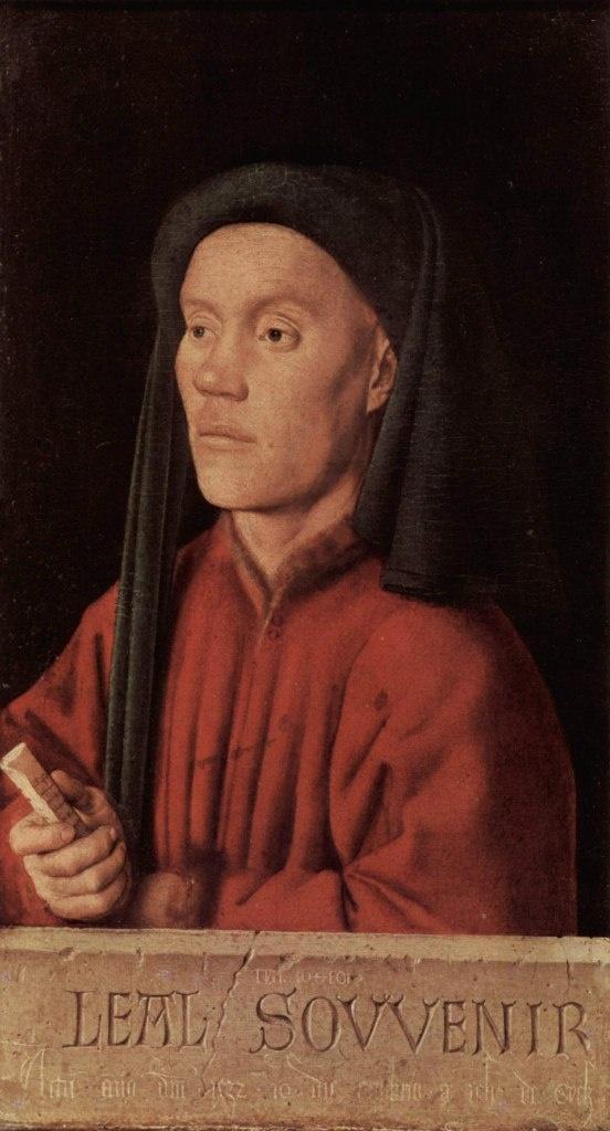 """Ян ван Эйк - """"Мужской портрет (Тимофей)"""", 1432. Лондон, Национальная галерея. Является первым сохранившимся образцом светского портрета Раннего Возрождения ."""