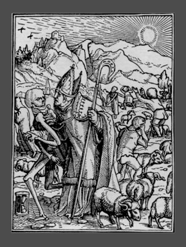 """Ганс Гольбейн Младший. """"Пляска Смерти"""". 1526 год - создание. 1538 - публикация. """"Епископ"""""""