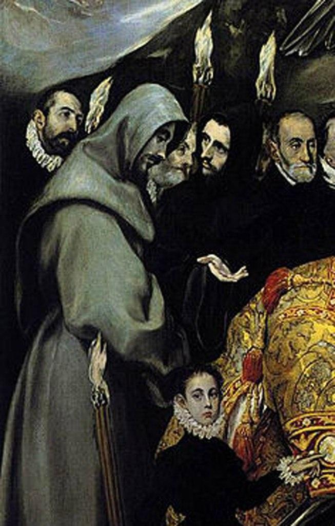 Эль Греко. «Погребение графа Оргаса». 1586 - 1588 годы. Левый фрагмент с двумя монахами, судя по одеяниям, в серой рясе с длинными широкими рукавами, капюшоном и кожаным поясом - из францисканского ордена, в черной рясе - из августинского.