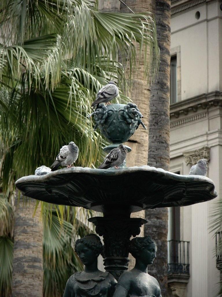 """Барселона. Королевская площадь. Фонтан """"Трех граций"""" и прекрасные пальмы, посаженные совсем недавно - в 80-е годы XX века, что немало способствовало украшению площади."""