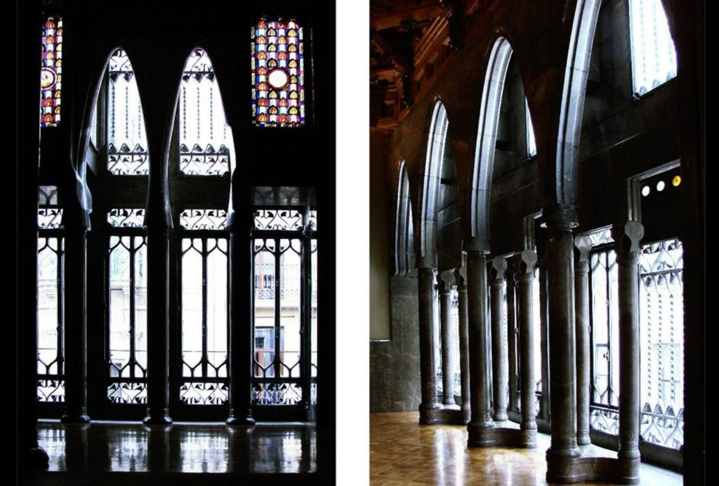Барселона. Дворец Гуэля. Архитектор Гауди. 1885—1890 годы Бельэтаж. Прихожая в двух арочно-колонных пролетах, скоординированных с геометрией эркера на главном фасаде. И следующий за Прихожей несколько иной Зал ожидания.