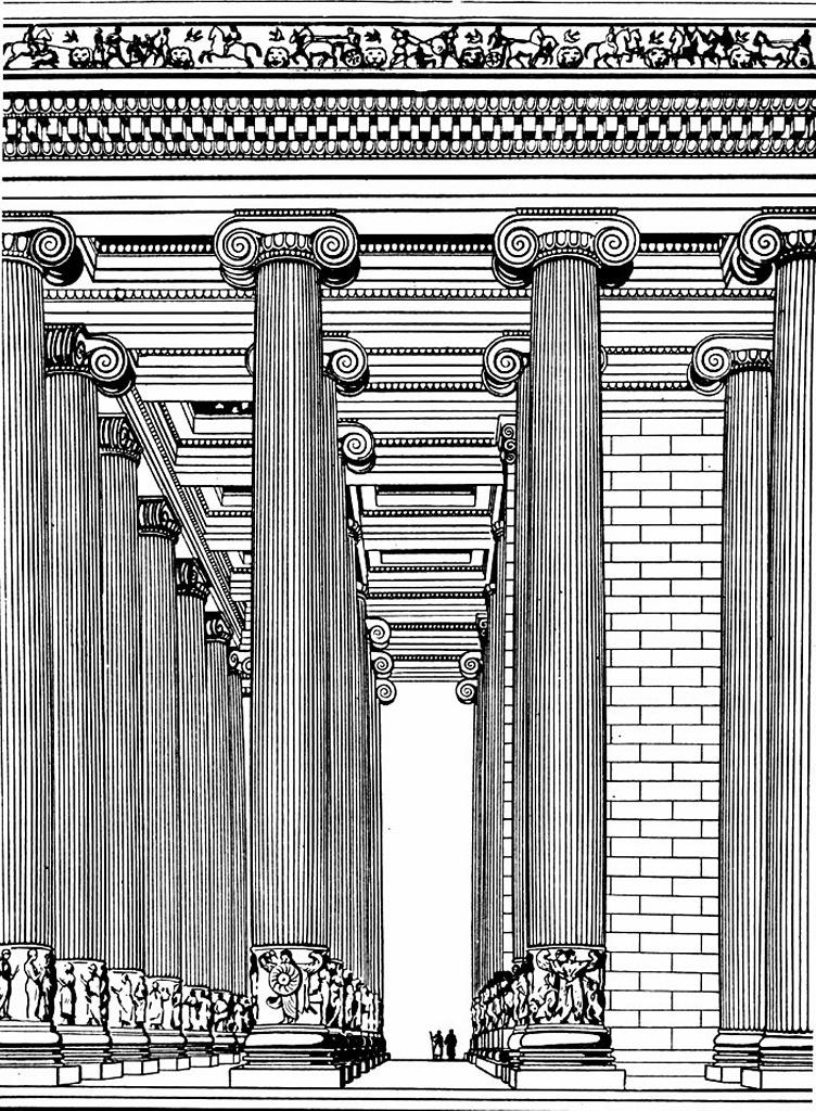 Малоазиатское побережье Эгейского моря. Храм Артемиды в Эфесе (графическая реконструкция пронаоса). Архитекторы Херсифрон и Метаген. Строился 120 лет. Завершен примерно в 450 году до н. э.