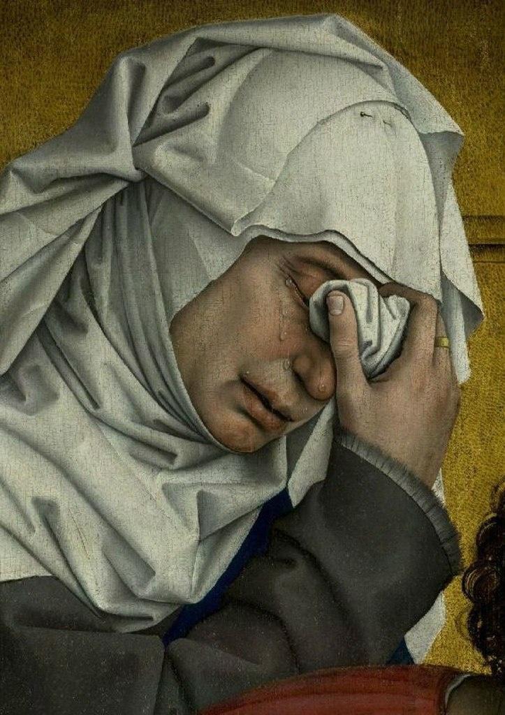 """Рогир ван дер Вейден. """"Снятие с креста""""Ранее 1443, Музей Прадо. Крайняя слева — Мария, жена Клеопы, одного из учеников Иисуса."""