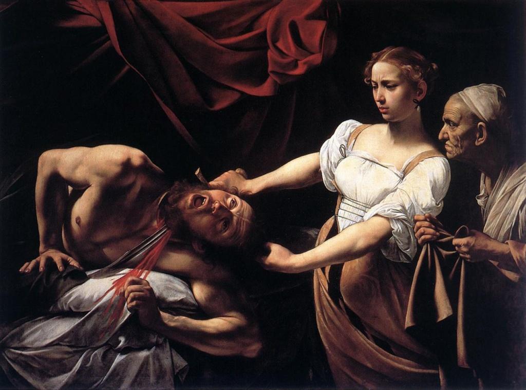"""Караваджо. """"Юдифь, убивающая Олоферна"""". 1599 (в тот же год написана """"Голова Медузы"""", кричащей от НЕНАВИСТИ). Национальная галерея старого искусства в Риме. В картине запечатленный предсмертный крик - АПОГЕЙ ЖЕСТОКОСТИ."""
