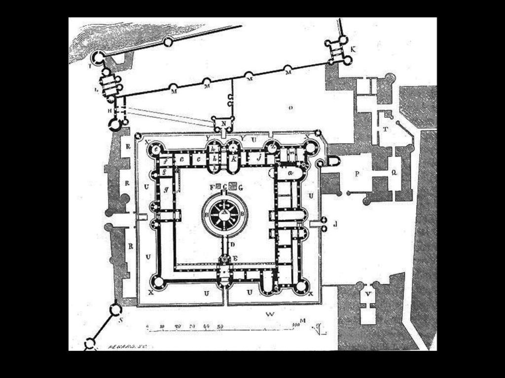 Современная графическая реконструкция  плана замка-дворца Лувр времен Филиппа II Августа.