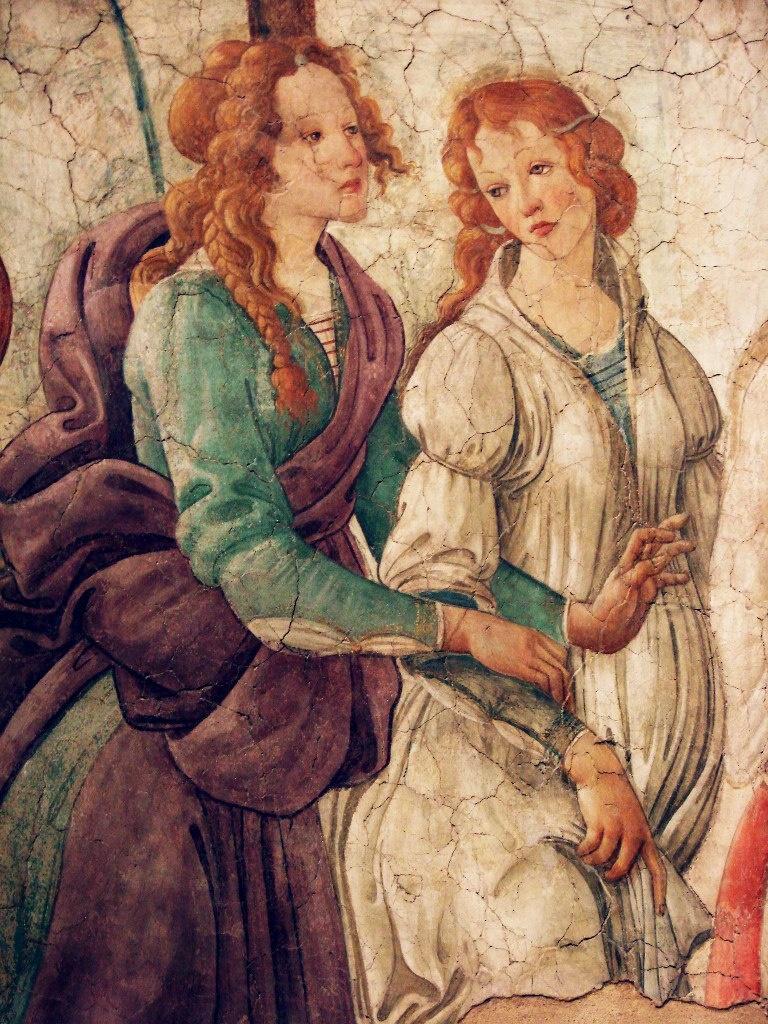 """АЛЕССАНДРО ФИЛИПЕПИ ДИ БОТИЧЕЛЛИ (1445-1510). . """"Молодая женщина получает дары от Венеры и трех Граций"""". Фрагмент - две из трех Граций в ряду дарительниц самых грациозных...."""
