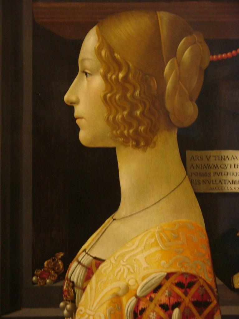 Доменико Гирландайо (1449 — 1494). Портрет Джованны Альбеци Торнабуони (1489-90). Фрагмент.