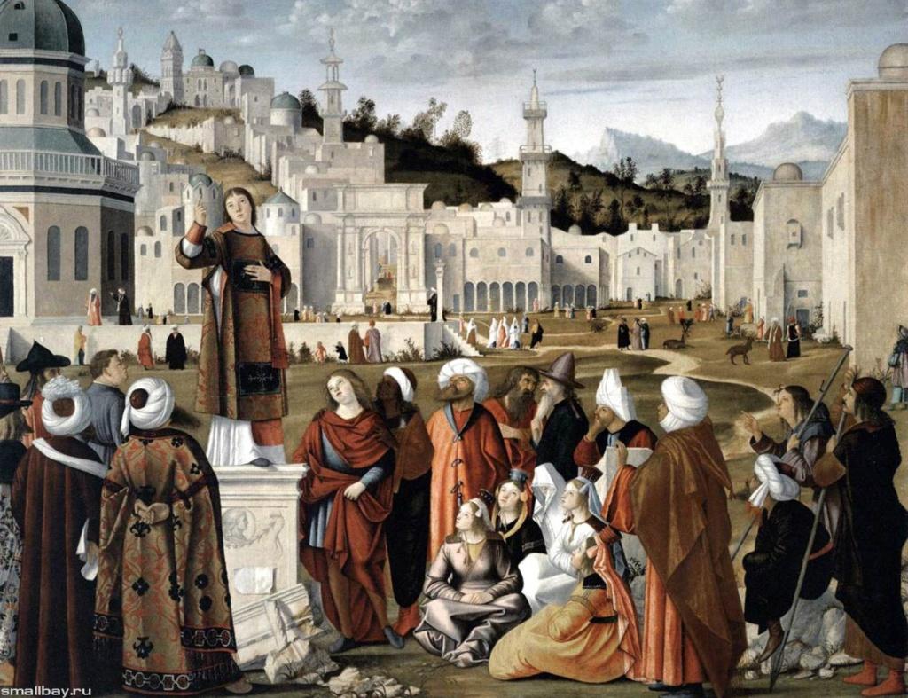 Витторе Карпаччо. «Проповедь святого Стефана перед воротами Иерусалима». Размер картины 152 x 195 см, холст, темпера. Картина панорамна, колорит светлый, торжественный, психологическое содержание насыщенно-религиозное.