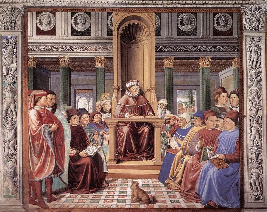 Сан-Джиминьяно, церковь Сант-Агостино. Гоццоли Беноццо. Цикл фресок «Жизнь святого Августина» (1464-1465). Святой Августин преподаёт в Риме (сцена 6, южная стена).