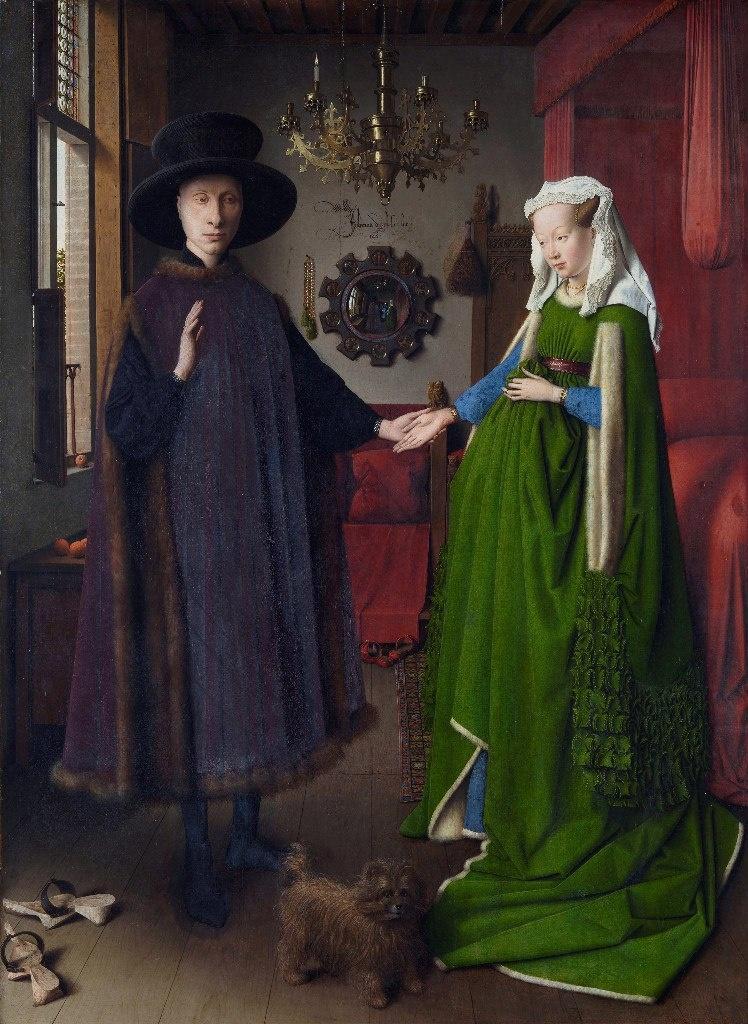 """Ян ван Эйк - """"Портрет четы Арнольфини"""", 1434. Национальная галерея, Лондон. Джованни ди Николао Арнольфини и его жена изображены в их доме в Брюгге. Портрет является одним из наиболее сложных произведений школы живописи Северного Возрождения."""