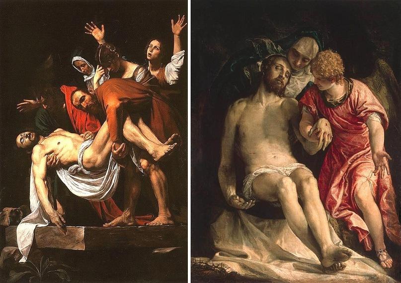 "Микеланджело Меризи де Караваджо. ""Положение во гроб"". 1602-1603 Паоло Веронезе. ""Оплакивание Христа"". 1576-1582"