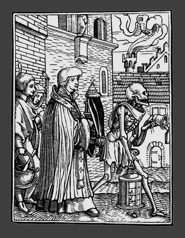"""Ганс Гольбейн Младший. """"Пляска Смерти"""". 1526 год - создание. 1538 - публикация. """"Священник"""""""