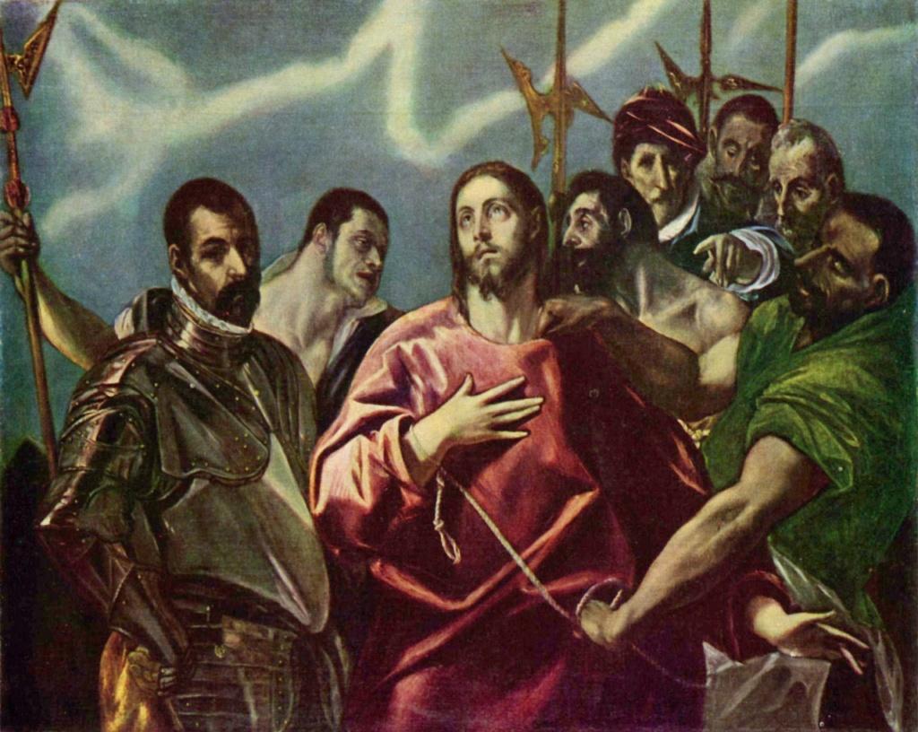 """Эль Греко. """"Взятие Христа под стражу"""". Фрагмент измененного варианта """"Эсполио"""". Музей изобразительных искусств, Будапешт. Вместо толпы, нависающей над Христом, изображено небо с облачным зигзагом. Смысловой ключ из жестов рук сохранен"""