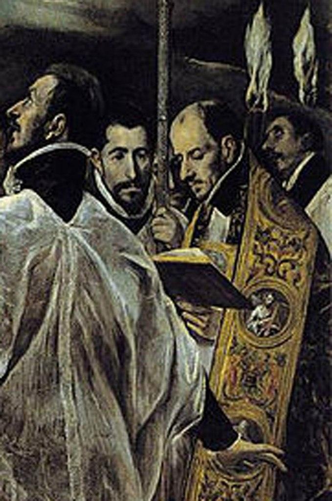 В парадном облачении молитвенник читает - отпевает усопшего - Томе Андрес Нуньес де Толедо, друг Эль Греко, пастор церкви Санто Томе, по заказу которой была написана картина, никогда не покидавшая храма, никогда не реставрировавшаяся...