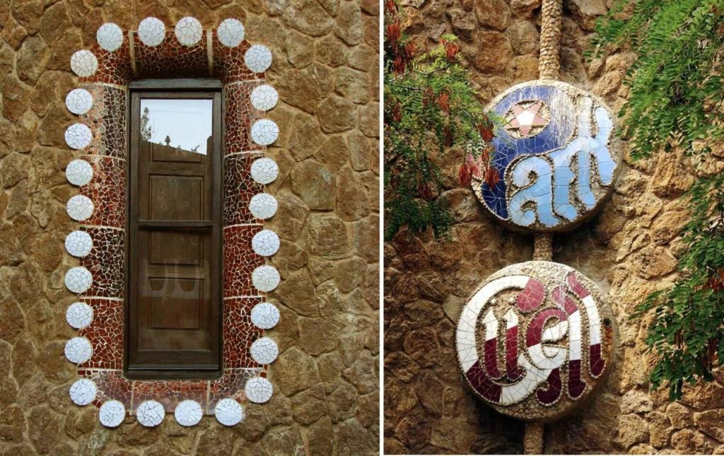 Слева - окно Павильона администрации. Справа - керамические медальоны с названием Парка. Согласно сопоставлению, камень в Парке - основа всего и вся.