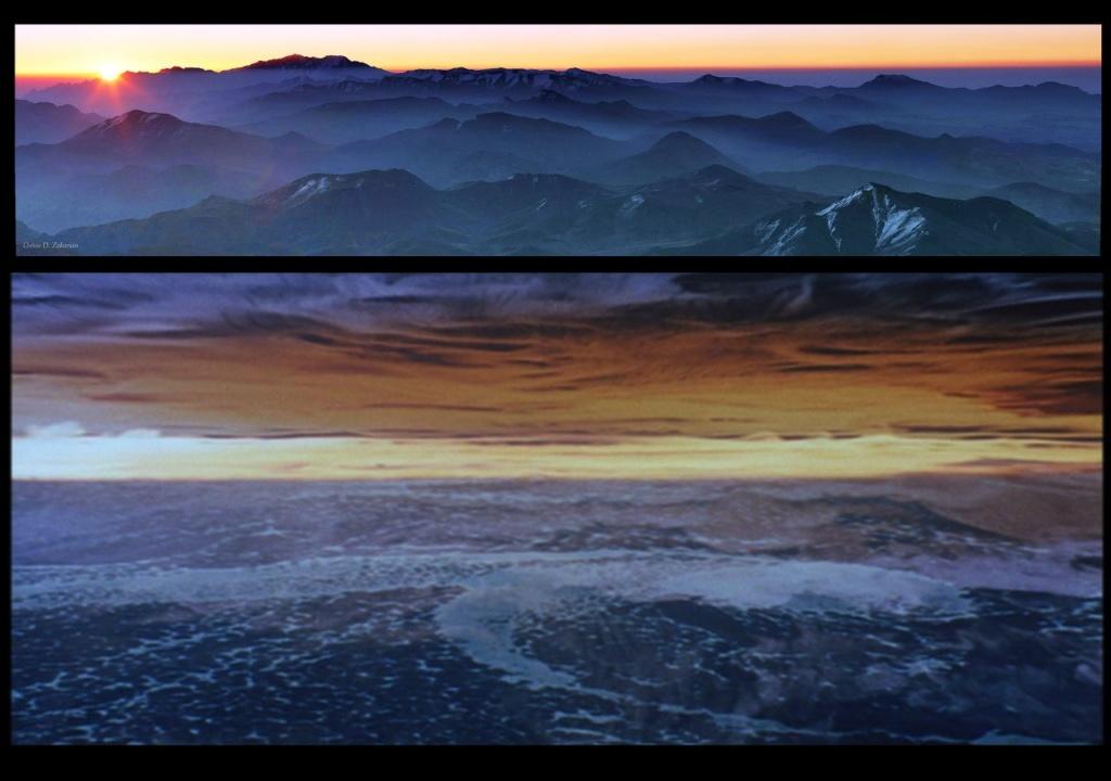 """Наверху - Иранская пустыня. Внизу - мыслящий океан из """"СОЛЯРИСА""""."""