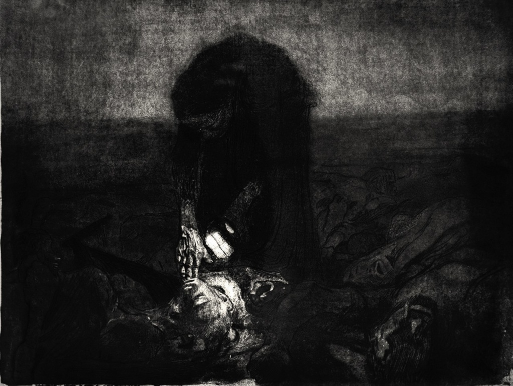 """Кете Кольвиц. «Крестьянская война», 1903 - 1908 год. Последний лист - """"Мертвое поле""""..."""
