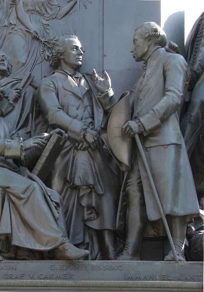 Унтер-ден-Линден. Конный монумент Фридриха II Великого. Ск. Раух Христиан-Даниэль. 1840 - 1851 годы. Лейбниц Готфрид Вильгельм (1646, Лейпциг, — 1716, Ганновер), Кант Иммануил (1724–1804, Кенигсберг).