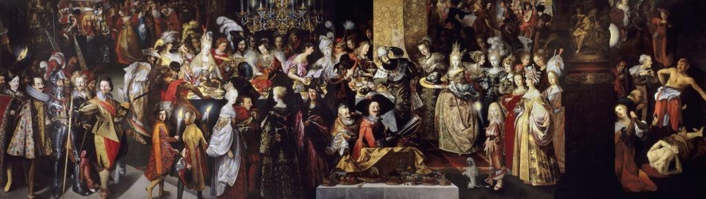 """Картина напротив выхода из лифта, ведущего на бельэтаж. Стробель Бартоломеус II. """"Усекновение главы св. Иоанна Крестителя и пир Ирода"""". 1610-1613. Размер: 2959 х 835 px"""