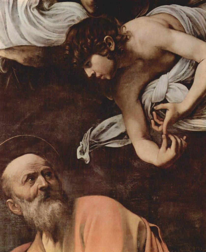 """Караваджо. """"Вдохновение апостола Матфея"""". 1599 - 1600. Символ дан Матифею в образе человека, потому что он  яснее других евангелистов указал на человеческую природу Иисуса."""