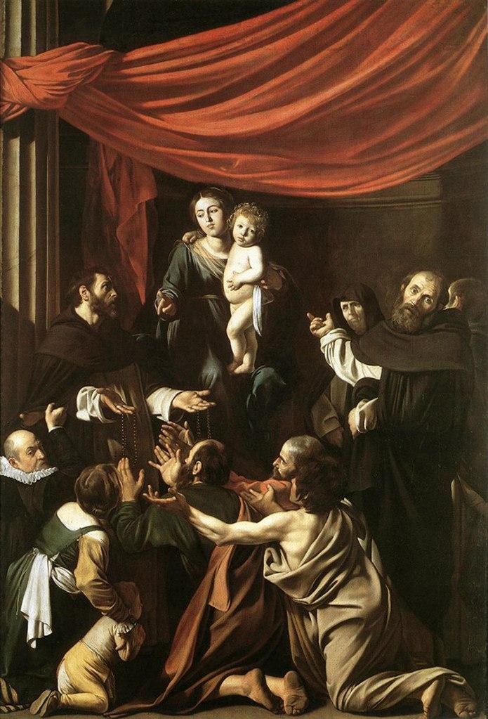 Караваджо. «Мадонна дель Розарио» («Мадонна с чётками»). 1607. Картина написана, вероятно, для церкви Сан Доменико в Неаполе. Хранится в Музее истории искусства в Вене.