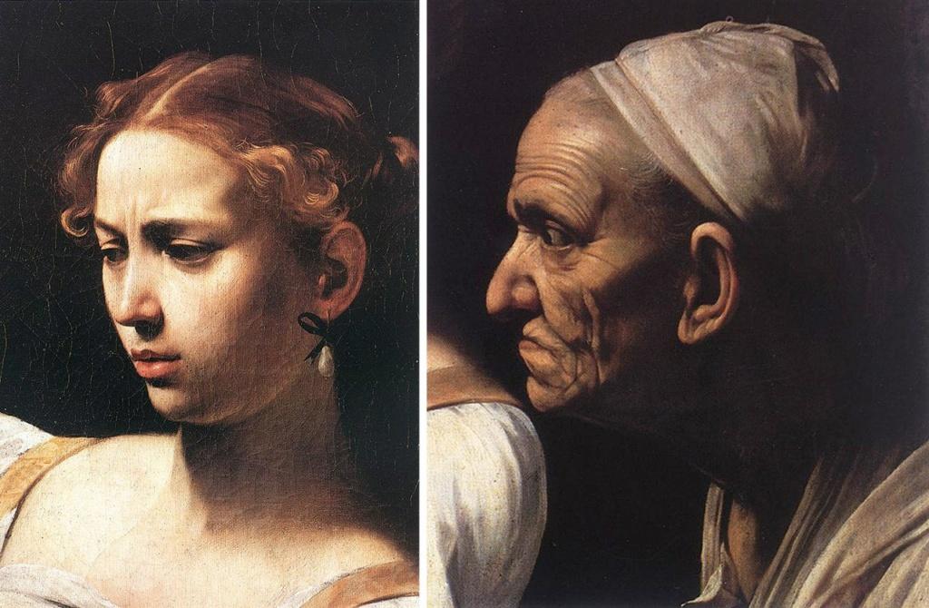 """Караваджо. """"Юдифь, убивающая Олоферна"""". 1599. Фрагменты: два лица, демонстрирующие каменную суровость Юдифи, истинно библейской героини, и застывший взгляд вытаращенных глаз старухи-служанки."""