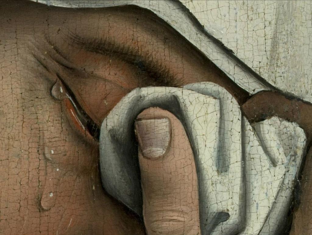 """Рогир ван дер Вейден. """"Снятие с креста""""Ранее 1443, Музей Прадо, Мадрид Мария, - жена Клеопы, одного из учеников Иисуса."""